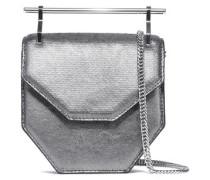 Amor Fati Metallic Lizarad-effect Leather Clutch Gunmetal Size --