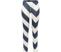 Striped Stretch-jersey Leggings Navy