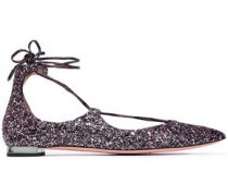 Lace-up glittered leather point-toe flats