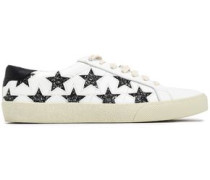 Embellished Laser-cut Leather Sneakers White