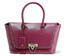 Demilune Chain-trimmed Leather Tote Magenta Size --