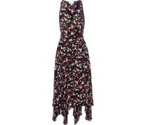 Roslyn Printed Silk Crepe De Chine Midi Wrap Dress Black