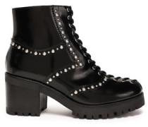 Hanna Studded Polished Leather Ankle Boots Black