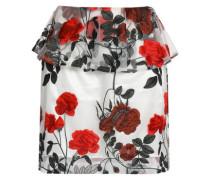 Embroidered tulle peplum mini skirt