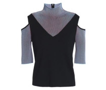 Cold-shoulder ribbed-paneled wool-blend turtleneck top