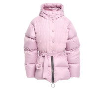Belted Paneled Quilted Shell Hooded Coat Lilac