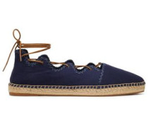 Embroidered Lace-up Canvas Espadrilles Navy