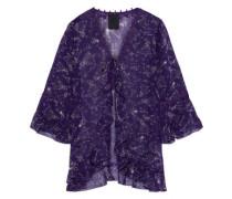 Ruffled Printed Silk-chiffon Jacket Purple