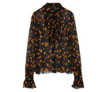 Printed Silk-georgette Top Black