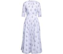 Woman Floral-print Cotton Midi Dress Sky Blue