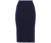 Ribbed Marled Cashmere Skirt Indigo