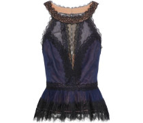 Lace-paneled pleated tulle peplum top