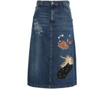 Embellished Denim Midi Skirt Mid Denim