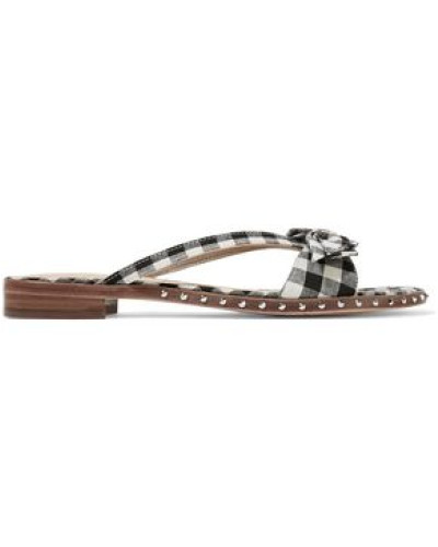 Bow-embellished gingham woven sandals