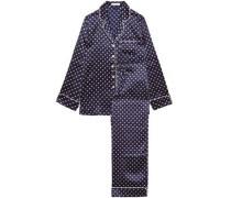 Lila Printed Silk-satin Pajama Set Navy
