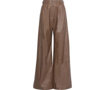 Woman Unbridled Leather Wide-leg Pants Light Brown