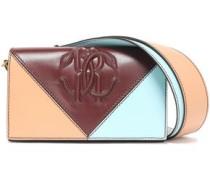 Color-block Embossed Leather Shoulder Bag Burgundy Size --
