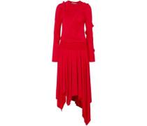 Estela Asymmetric Ruched Stretch-cotton Jersey Midi Dress Tomato Red