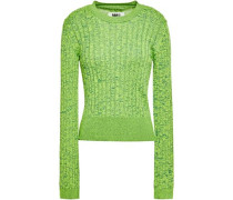 Woman Marled Ribbed-knit Sweater Bright Green