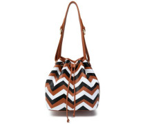Printed leather bucket bag