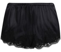 Lace-trimmed silk and cotton-blend satin pajama shorts