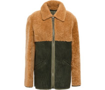 Paneled Shearling Jacket Army Green