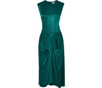 Benignan Draped Satin-twill Midi Dress Emerald
