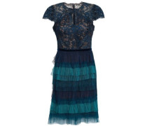 Tiered Lace And Plissé-tulle Mini Dress Petrol