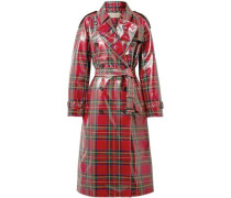 Coated-tartan Wool Trench Coat Red Size 14