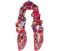 Embellished Printed Silk-satin Scarf Red Size --