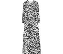 Pleated Metallic Leopard-print Fil Coupé Silk-blend Gown Black