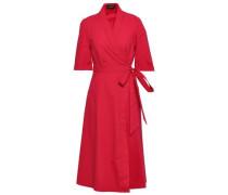 Mae Cotton-blend Poplin Midi Wrap Dress Crimson