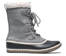 Caribou Slim Faux Shearling-trimmed Rubber And Suede Snow Boots Gray