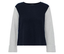 Cropped Color-block Ribbed Cashmere Sweater Navy