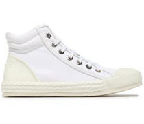 Berlin canvas and embossed leather high-top sneakers