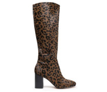 Woman Leopard-print Calf Hair Boots Animal Print