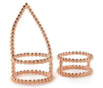 Set of two rose gold-tone rings