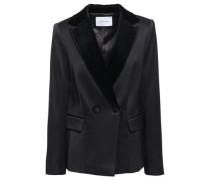 Double-breasted Velvet-trimmed Satin-crepe Blazer Black