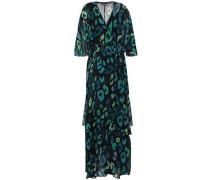 Wrap-effect Layered Leopard-print Chiffon Maxi Dress Dark Green
