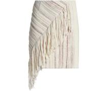 Asymmetric fringed tweed mini skirt