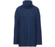 Cable-knit Cotton-blend Turtleneck Top Cobalt Blue