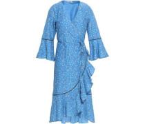 Floral-print Cotton And Silk-blend Mousseline Wrap Dress Azure