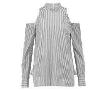 Cold-shoulder striped cotton-blend poplin top