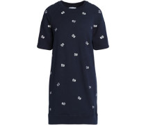 Embroidered cotton-terry mini dress