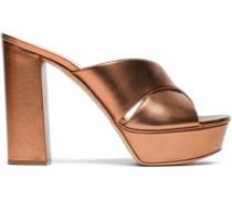 Metallic leather platform mules