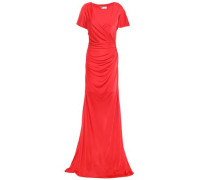 Woman Wrap-effect Ruched Satin-jersey Gown Red