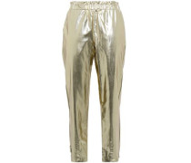 Metallic Faux Leather Tapered Pants Gold