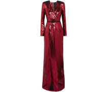 Zodiac Belted Wrap-effect Lamé Gown Red