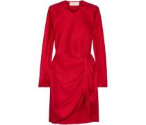 Twisted Silk-satin Mini Dress Red