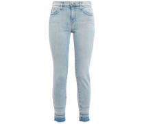Frayed High-rise Skinny Jeans Light Denim  4